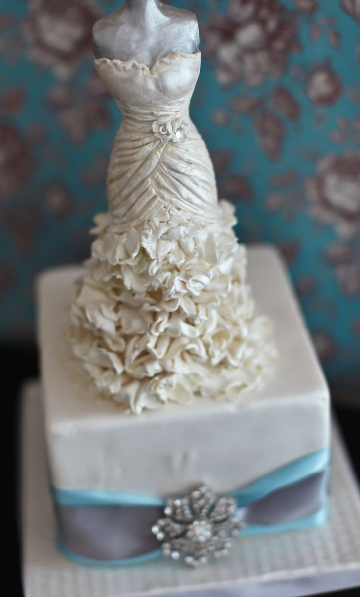 Bridal shower cake topper this wedding dress topper was for Cakes for wedding showers