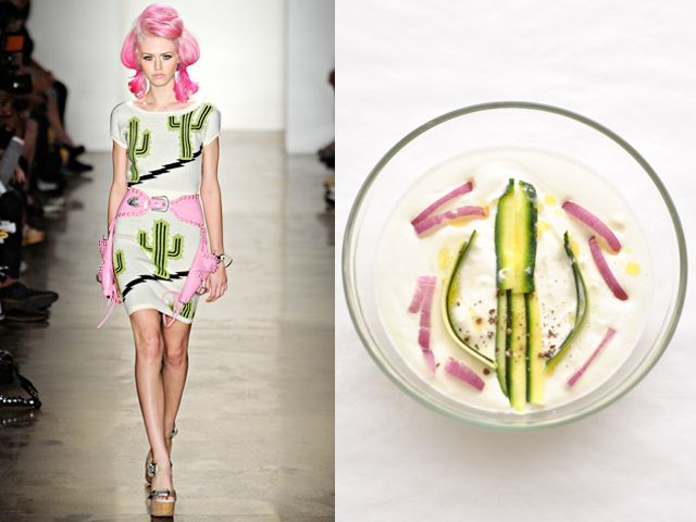 JEREMY SCOTT / WHITE ONION CREAM WITH JULIENNE CUT ZUCCHINI