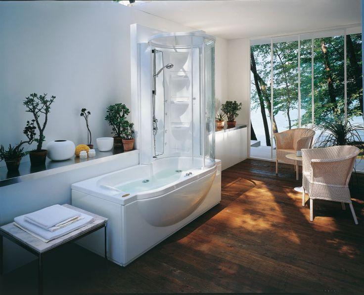 minimalist white corner tub shower combo for bathroom furniture design with unique curved bathtub style