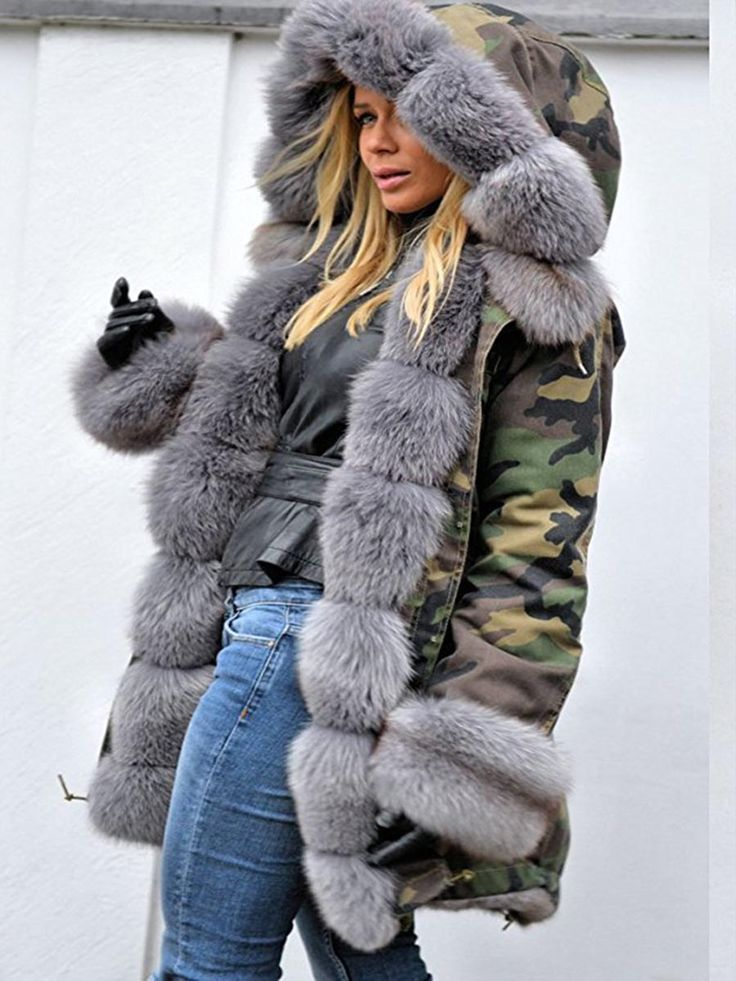 Fur Camouflage Mid-Length Hooded Coat