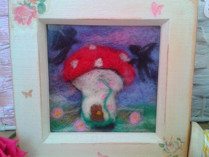 Minature Needle Felt Painting- Fairy Garden by PuppyduckMakes on Etsy