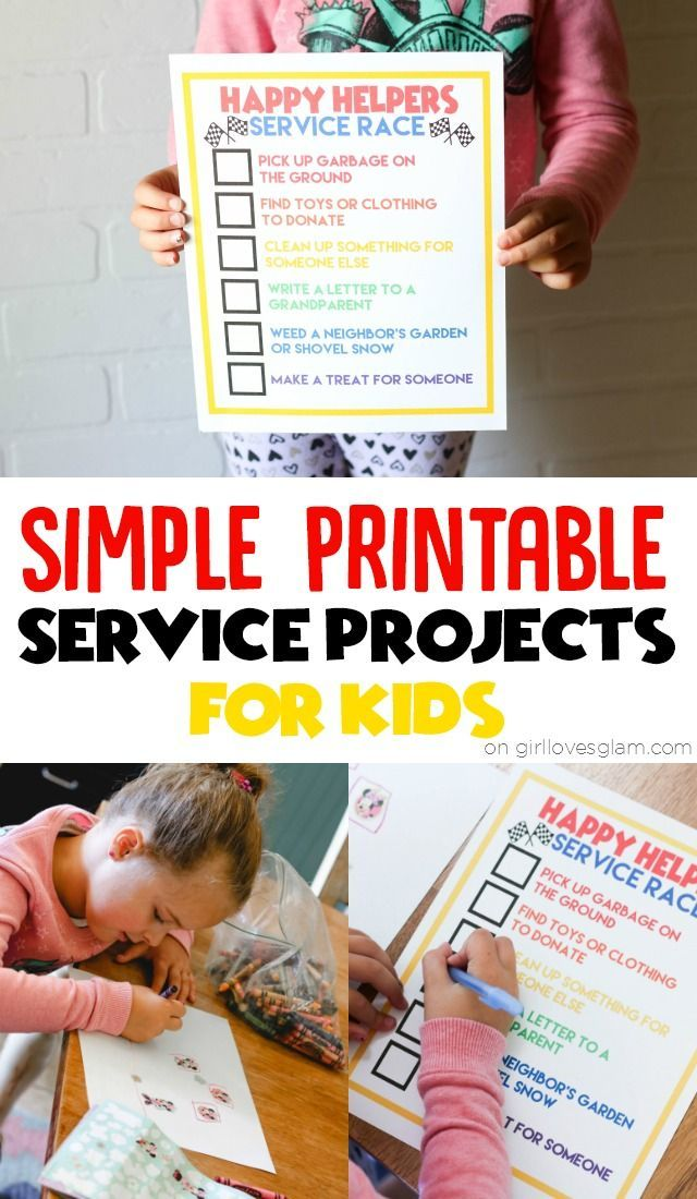 Simple Printable Service Projects for Kids on www.girllovesglam.com