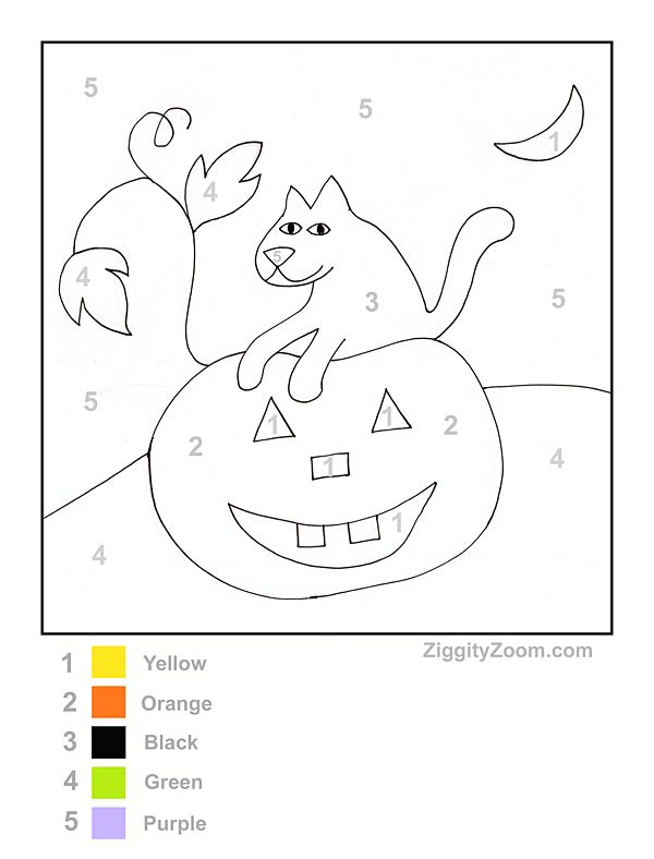 color by number halloween worksheet - Halloween Worksheets Preschool