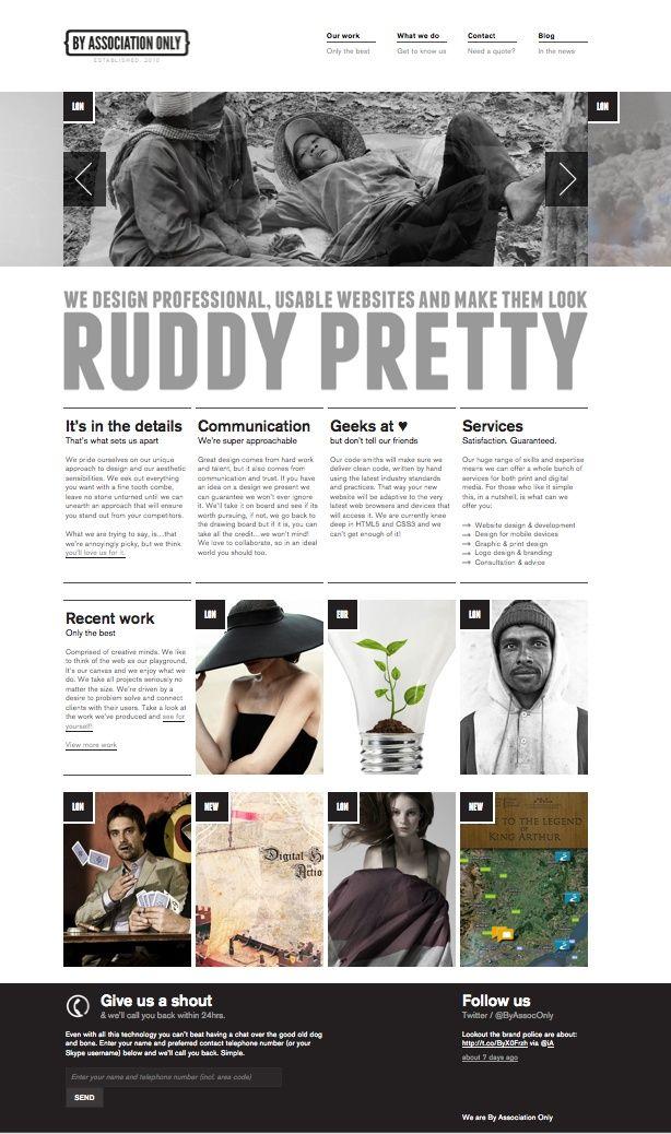 een webdesign die ik mooi vind. dit omdat het je laat denken dat je een magazine bekijkt. de foto's op de website worden ook mooi weergeven. voor de rest is de typografie vrij simpel.