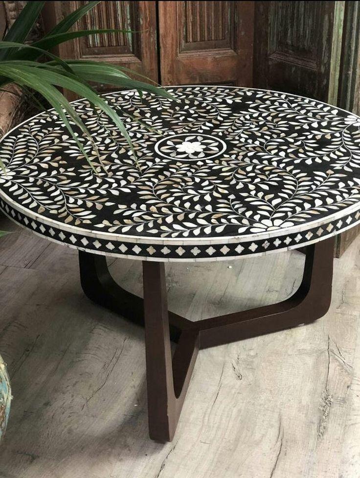 Sleek Round Bone Inlay Coffee Table Etsy in 2020