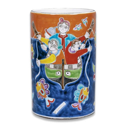 Hand made and hand painted Italian ceramic vase from Desimone. This and more at the Italian Pottery Outlet.