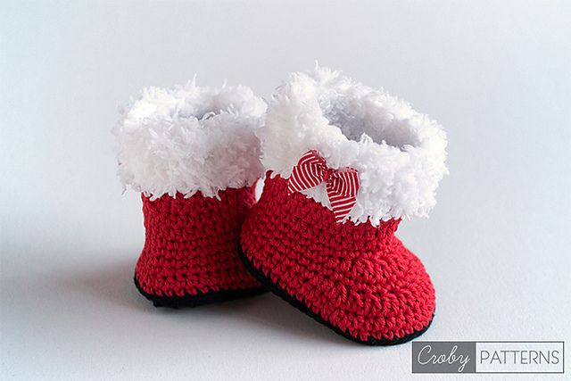 Ravelry: Crochet Baby Booties - SANTA'S BOOTIES pattern by Croby Patterns $4.99