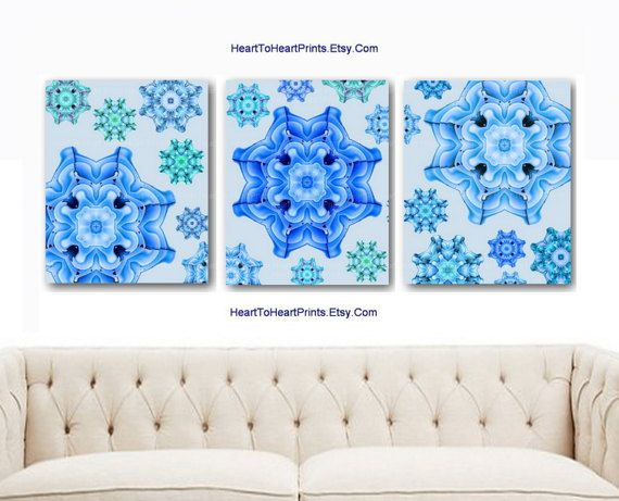 Bedroom Wall Decor Aqua Blue Teal Mint Turquoise Floram Mandala Wall Art Rustic Home Decor Living Room Bathroom Abstract Flower Pictures