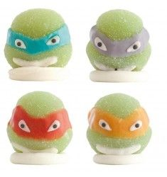 4 Figurines Tortues Ninja en sucre