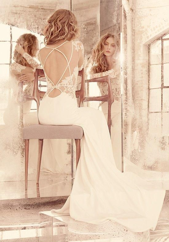 Ivory long sleeve lace modified a-line gown, illusion bateau neckline | Hayley Paige | https://www.theknot.com/fashion/mona-style-6559-hayley-paige-wedding-dress