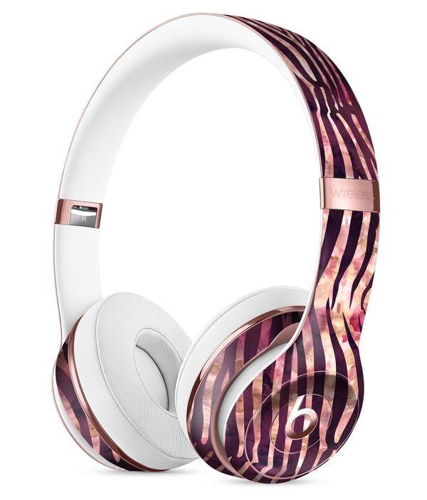 wine watercolor zebra pattern full body skin kit for the beats by dre solo 3 wireless headphones