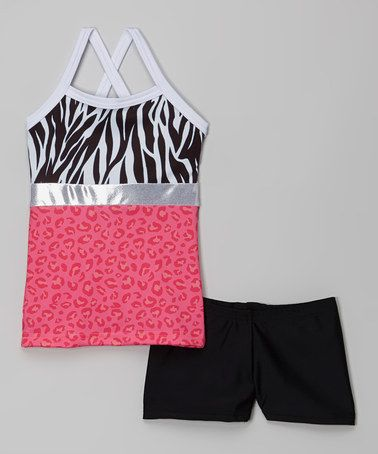 Look what I found on #zulily! White & Pink Cheetah Tank & Black Shorts - Girls by Elliewear #zulilyfinds