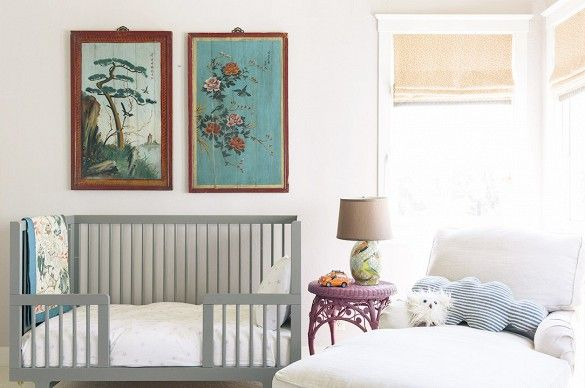 I love the pictures on the wall. Who cares if it's a nursery?   Baby on the Way? Get Inspired by These Sophisticated Nurseries via @domainehome