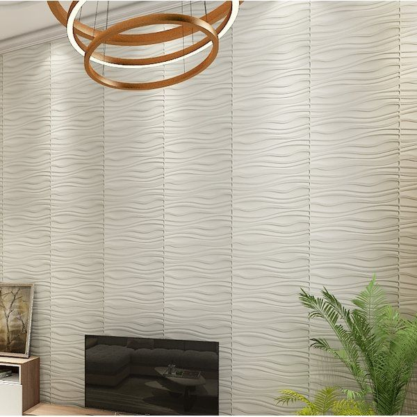 "Porter-Mahoney Wave Board 19.7"" L x 19.7"" W 3D Embossed Wallpaper Panel"
