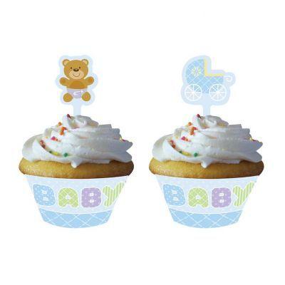 - Mavi Bebek Ayıcık Cupcake Kılıf ve Süsü