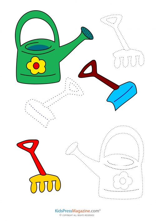 Coloring Match Garden Tools