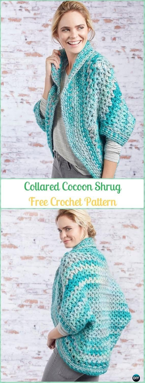 Crochet Collared Cocoon Shrug Free Pattern - #Crochet; Women #Shrug; Cardigan Free Patterns