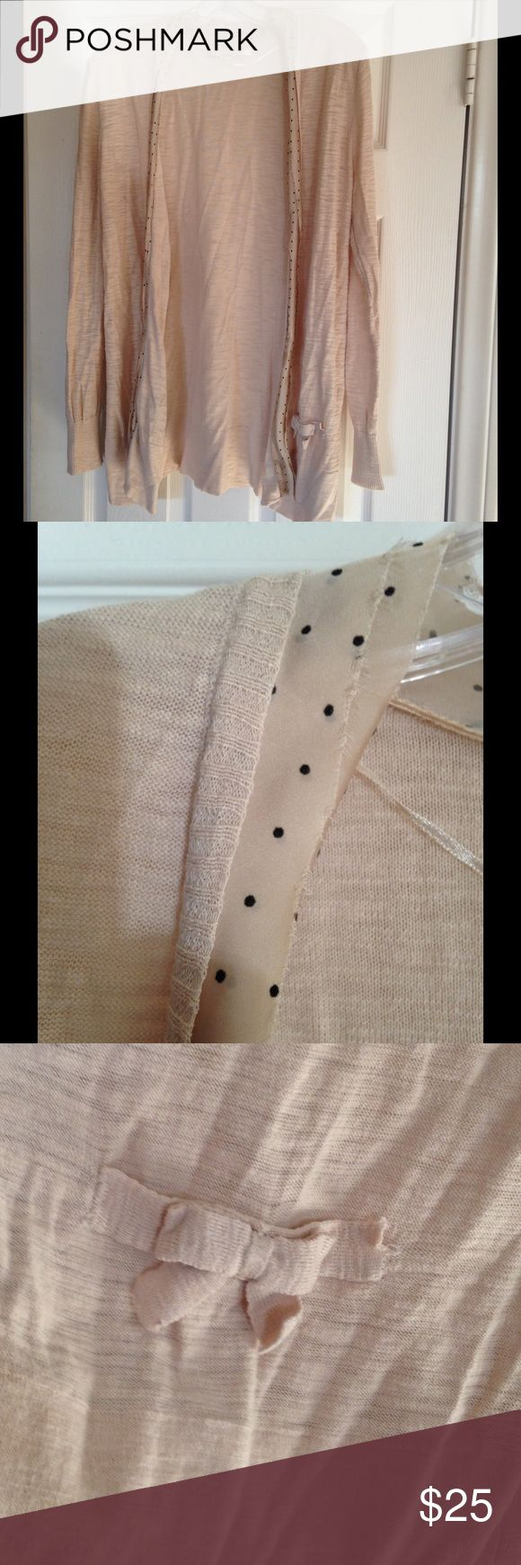 🌹Basic Nude Cardigan Chic lightweight cardigan, with polka dot trim. A bit longer than most, it looks dynamite with leggings and a blouse. Adorable bow tie detail on front pockets (photo 3). 100% cotton. Hand wash cold, flat dry. LC Lauren Conrad Sweaters Cardigans
