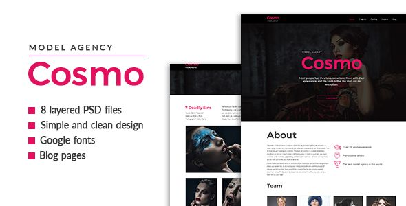 Cosmo — Model Agency PSD Template