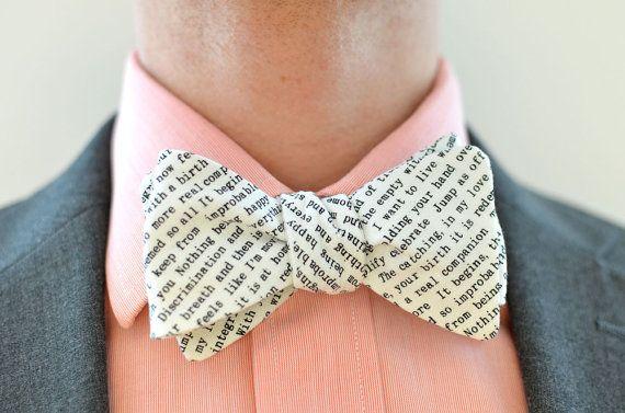 Men's Bow Tie in Text- freestyle wedding groomsmen bowtie neck self tie black and white writing type