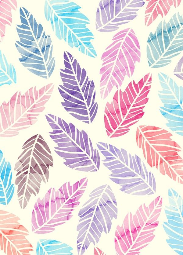 """Watercolor Colorful Leaves"" metal poster by Amir Faysal #pattern"