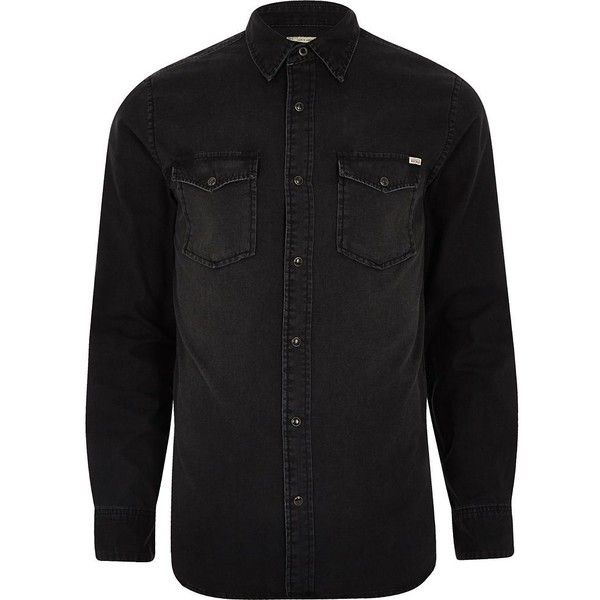 River Island Black Jack and Jones Vintage denim shirt ($50) ❤ liked on Polyvore featuring men's fashion, men's clothing, men's shirts, men's casual shirts, black, shirts, mens longsleeve shirts, mens long sleeve casual shirts, mens long sleeve denim shirts and mens pearl snap shirts