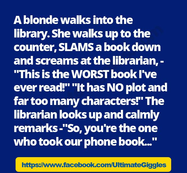 Keep Trying Ecard | blonde walks into the library. | Blonde Jokes