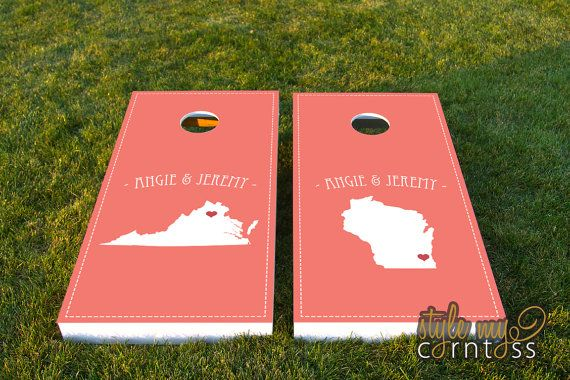 Our Maps | Heart Marks the Spot design can be personalized with the bride and grooms first names. The background color can also be changed to