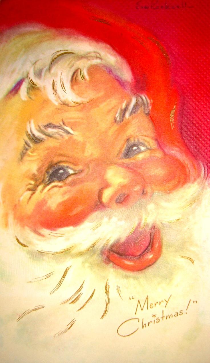 386 best Santa images on Pinterest   Christmas cards, Retro ...