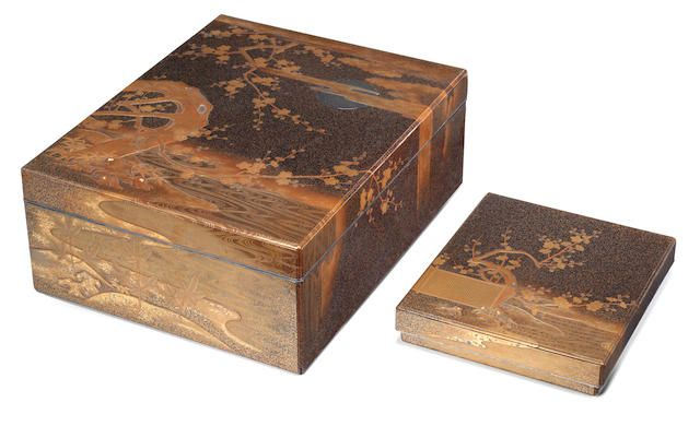 a matching set of lacquered suzuribako box for writing utensils   writing utensils and ryoshibako document box decoration of plum blossom autumn plants and poems from the kokinshu anthology taisho 1912 1926