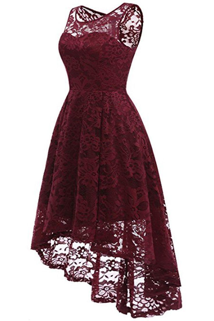 AA   Chicloth Frauen Blumenspitze Brautjungfer Partykleid Kurzes Abendkleid #AA #Brautjungfer #Chicloth #Kleid #floral