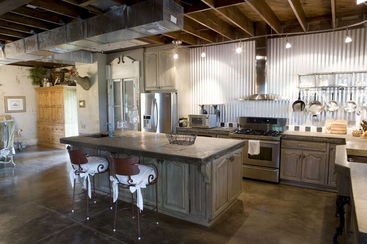 Kitchen of metal building barndominium ideals for Steel building homes interior