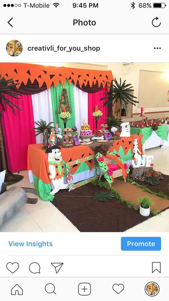 Flintstones Pebbles 1st Birthday Birthday Party Ideas | Photo 2 of 11