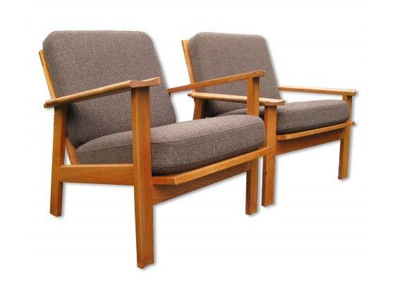Graue Dänische Sessel, 2er Set