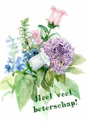 Mooie geschilderde beterschapkaart. Prachtige lente bloemen. Een mooie kaart om iemand beterschap te wensen.  Design: Verbrugge  Te vinden op: www.kaartje2go.nl
