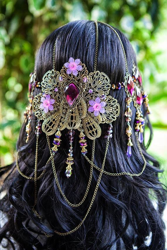 Beautiful handmade one of a kind lilac & purple coloured luna butterfly crown