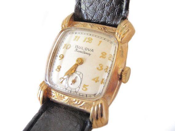 Vintage Bulova His Excellency Watch 10k Gold by ArtDecoAntiques