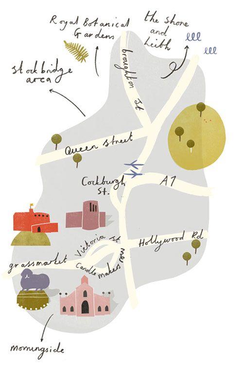 矩形がかわいい。ざっくりしててよい。 あと色がかわいい。 Illustrated Edinburgh Map by Clare Owen