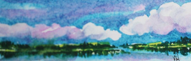 "Hiking behind Paradise Lake #2. A Series of Miniatures Number 6. A Glimpse into my World. 1"" X 3.25"" Watercolour."