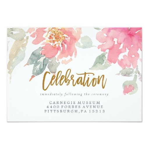 WATERCOLOR GARDEN WEDDING Celebration Card