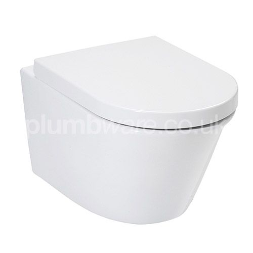 Wall Hung WC pan with horizontal outlet made from Vitreous China. Complete with soft close toilet seat and cover, with top fix stainless steel hinges.