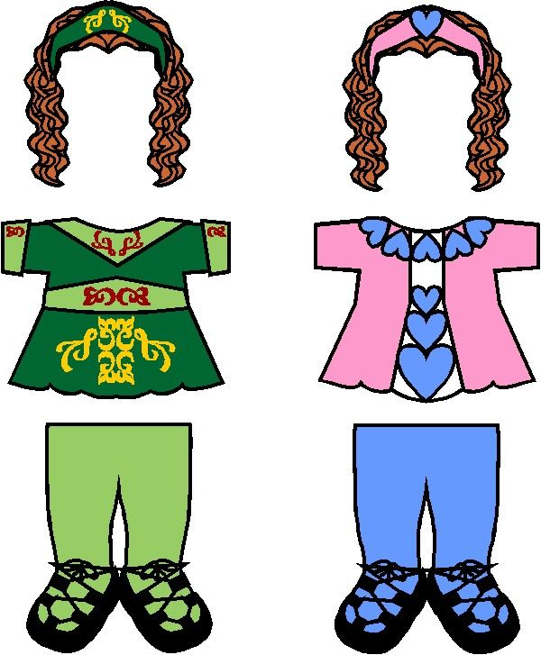 Irish Step Dancing Paper Doll Friends Perfect for Girl Scout World Thinking Day, Dancer badge and more, clad your tiny dancers in these colorful tights with lace-up dance shoes, flared tops and wavy hair with pretty headbands. Free printables available for your Ireland Paper Doll at MakingFriends.com