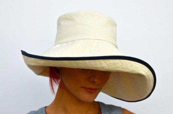 Cappello da sole crema pieghevole cappello di VictoriaGraceClothes