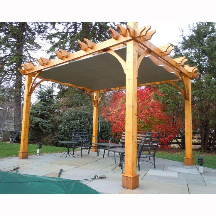 Visit The Home Depot To Buy Outdoor Living Today Breeze Cedar 10 Ft X 12 Pergola With Retractable Canopy