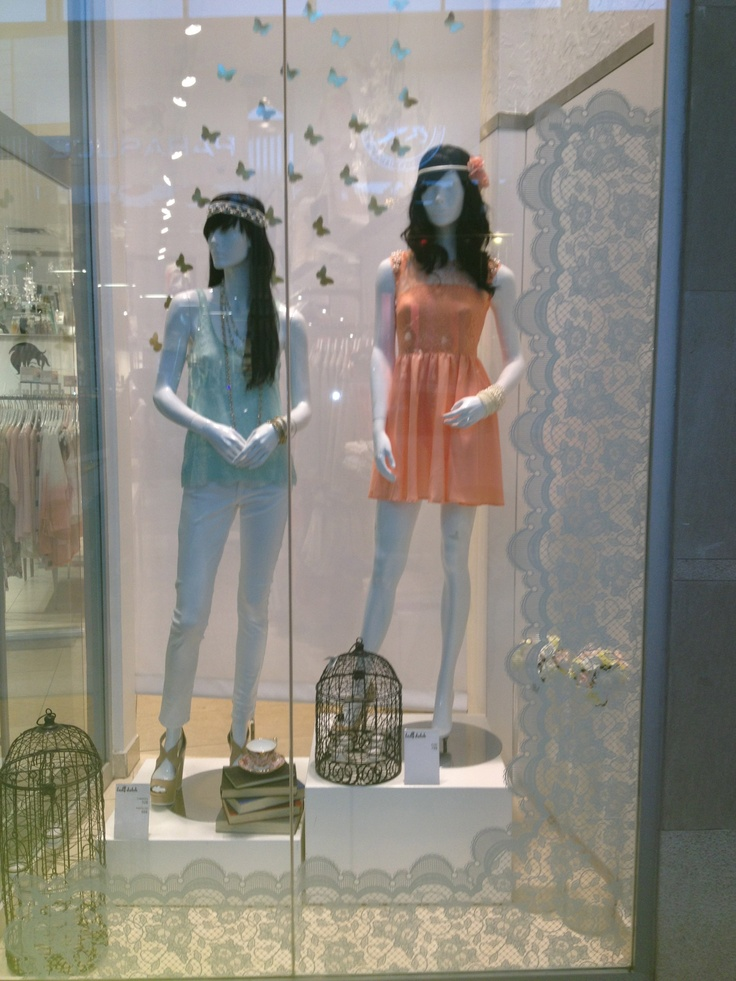 #window #display #spring #fashion #edgy #pastel #lace #birds #chic #trendy #2013 #ladydutch