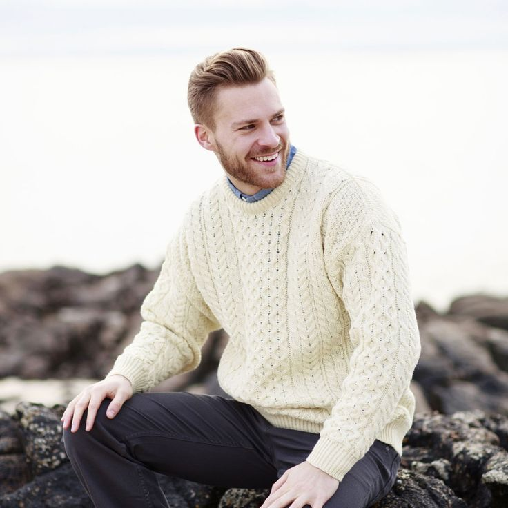 Gift idea for Father's Day; Traditional White Aran Sweater Unisex ♥  http://www.standun.com/traditional-white-aran-sweater-unisex.html