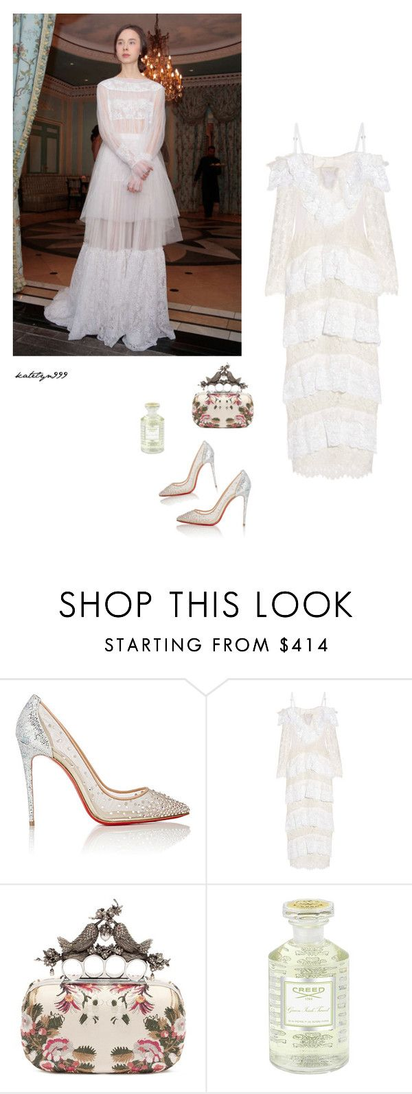 """Listen to your heart..."" by katelyn999 ❤ liked on Polyvore featuring Christian Louboutin, Delphine Manivet, Alessandra Rich, Alexander McQueen, Creed, bridal, whitedress and polyvoreeditorial"