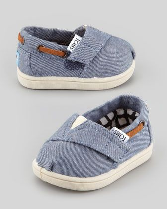 TOMS Tiny Chambray Bimini Shoe, Blue - Neiman Marcus I think my baby needs these!