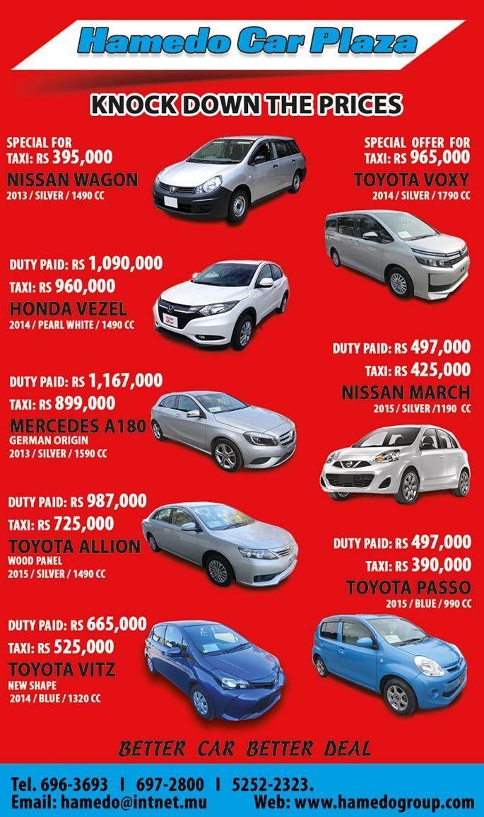 Hamedo ltd prices knock down with hamedo car plaza tel 696 3693