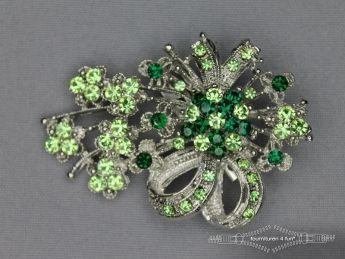 Strass broche 65mm strik licht groen